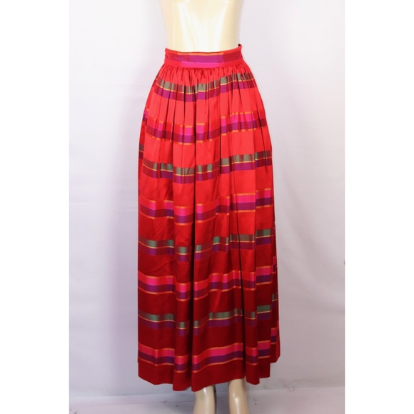 Victor Costa Dresses & Skirts - VINTAGE VICTOR COSTA RED MULTI MAXI SKIRT 6